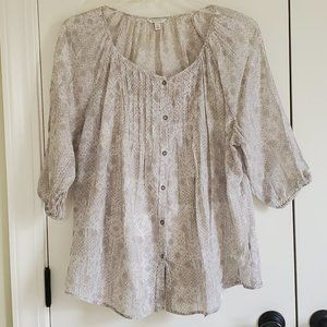 Taupe and Cream Sonoma Pleated Front Blouse